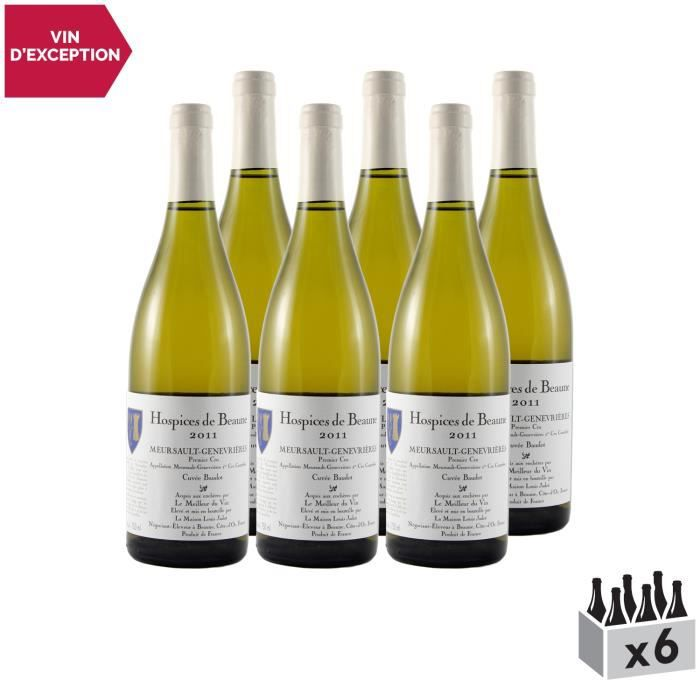 Meursault 1er Cru Genevrières Cuvée Baudot Blanc 2011 - Lot de 6x75cl - Hospices de Beaune - Vin AOC Blanc de Bourgogne - Cépage