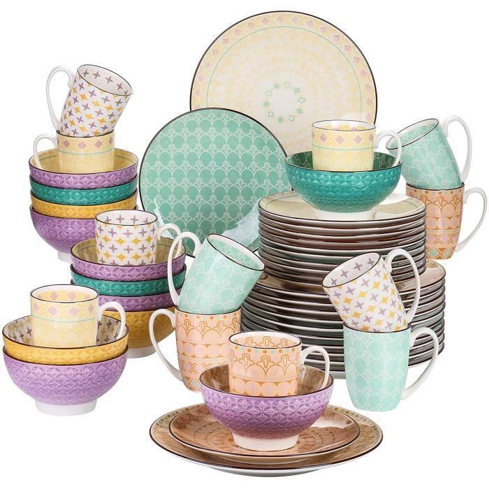 vancasso, série Tulip, Assiette Porcelaine, 48 Pièces, Service de Table Colorée, Style Marocain, Assiette Plate, Bols pour 12 Person