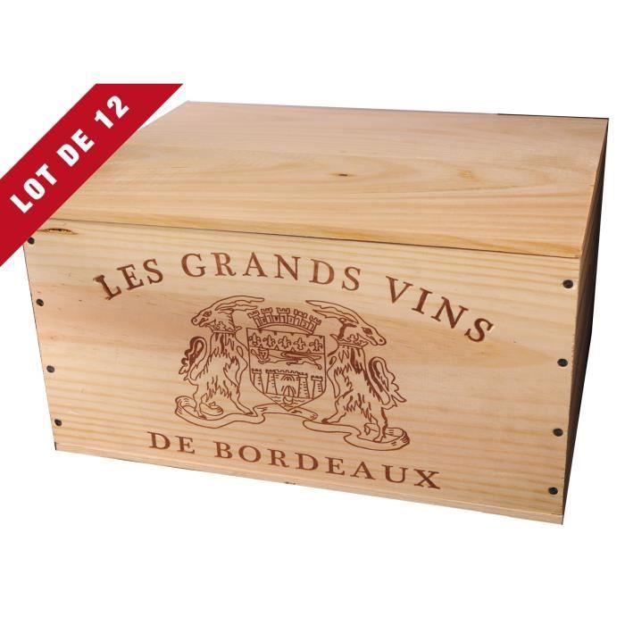 12X La Caisse Bois 6x75cl estampillé Grands Vins de Bordeaux - coffret