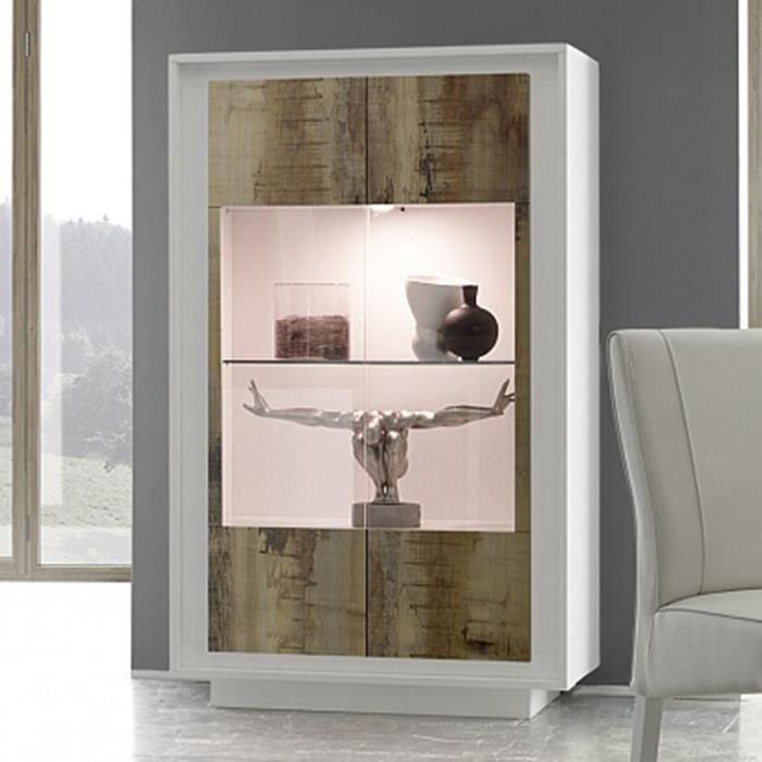 Vitrine blanc laqué mat et couleur bois PACOME LED à couleurs multiples L 106 x P 50 x H 171 cm Marron