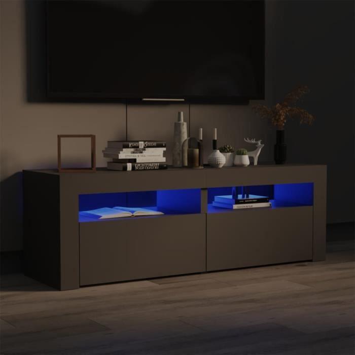 9731BEL® Meuble TV Vintage Design-Armoire TV avec lumières LED,Banc TV,Table Salon Gris 120x35x40 cm