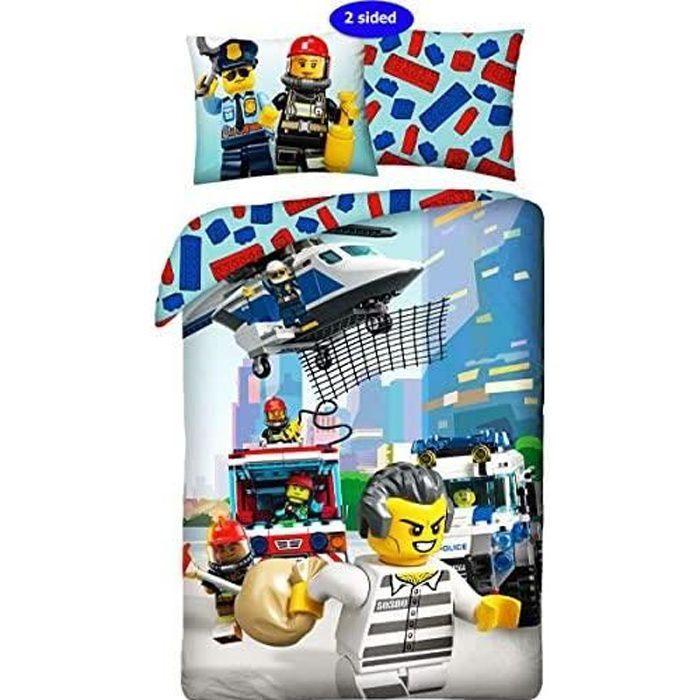 Halantex Parure de lit pour enfant 2 pièces Motif Lego City Police Pompier 140 x 200 cm + taie d'oreiller 100 % coton certifié Öko-T