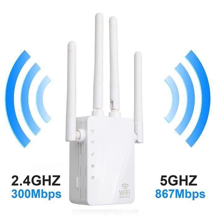 MOONMINI Répéteur Wifi 1200 Mbps Double Bande à travers le mur répéteur 4 antenne WiFi Range Extender Pr20477