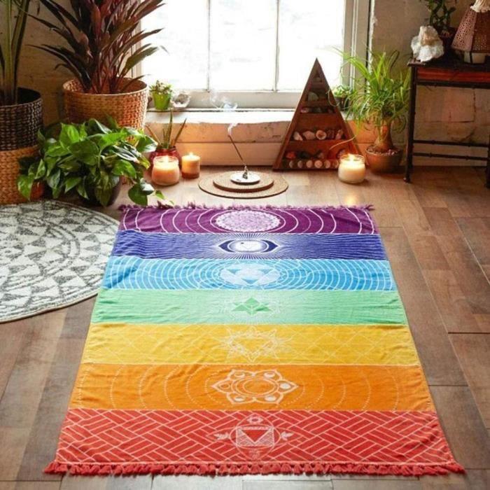 PRI Couverture murale de style bohémien Couverture de Mandala colorée 7 Chakra tapisserie à rayures arc-en-ciel tapis de Yoga pour