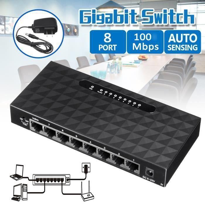 8 Port Gigabit Ethernet 1000Mbps Switch Lan Hub Adaptateur Pour Router Ve51282