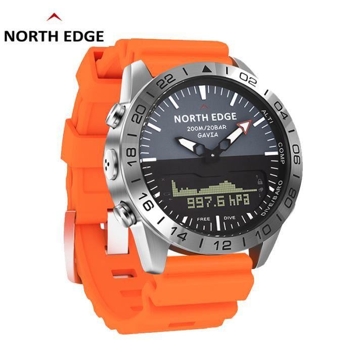 E North Edge GAVIA 2 montres pour hommes d'affaires de luxe en acier complet étanche 200 m altimètre boussole plongée sport numériqu