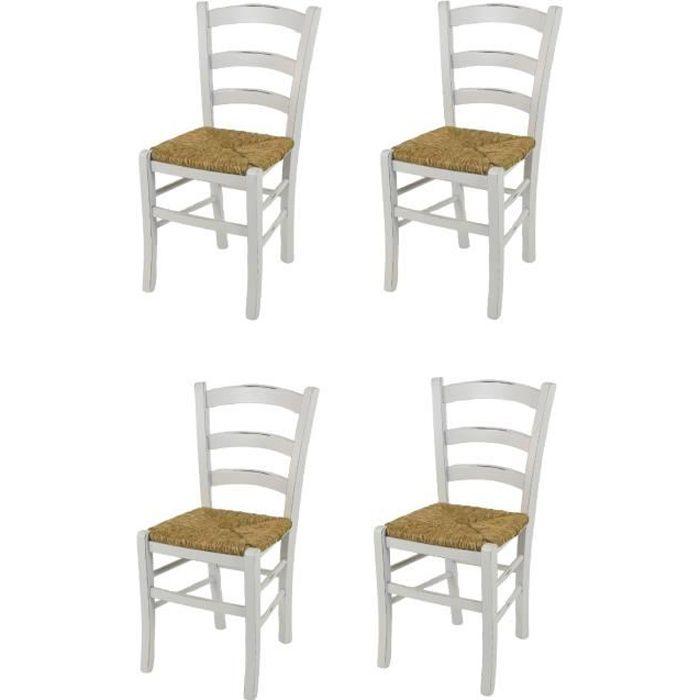 Tommychairs - Set 4 chaises cuisine VENEZIA style Shabby Chic, structure en bois de hêtre vieilli à la main et assise en paille