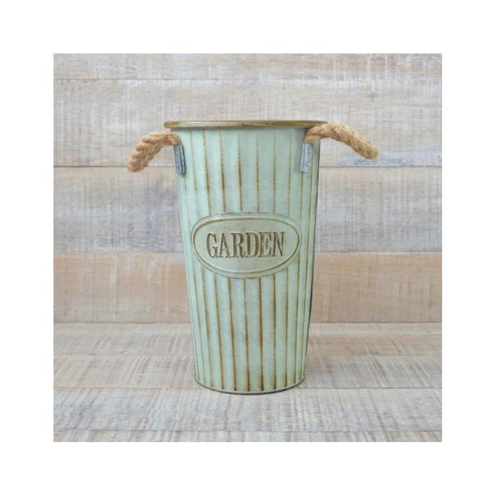 Vase en Métal avec Poignées Design Vintage avec la Couleur Verte à Décor de Maison de Jardin et Plus