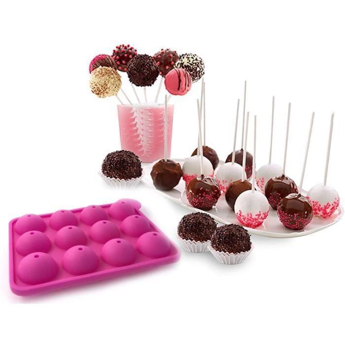 CAKE c Moule pour Cake Pop pour Lollipop Sucette en Chocolat en Silicone Alimentaire Pacirctisserie Anniversaire Goucircter Fe261
