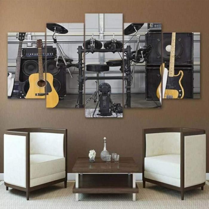 Studio de Musique pour Guitare Tableaux Tableau Decoration Murale 5 Parties Toile Peinture intissee Salon 100x50cm[345]