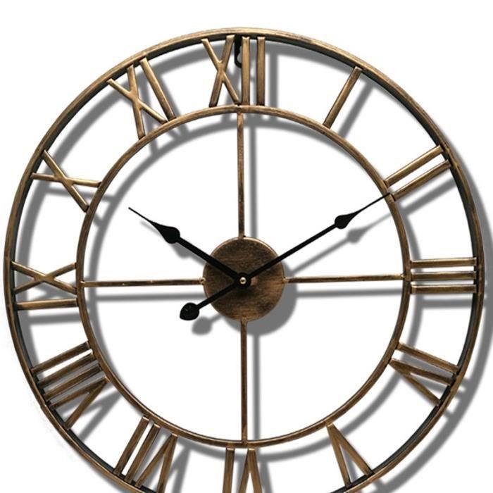 Horloge,40-47CM nordique métal chiffre romain horloges murales rétro fer rond visage noir or grand extérieur - Type S - 40 CM