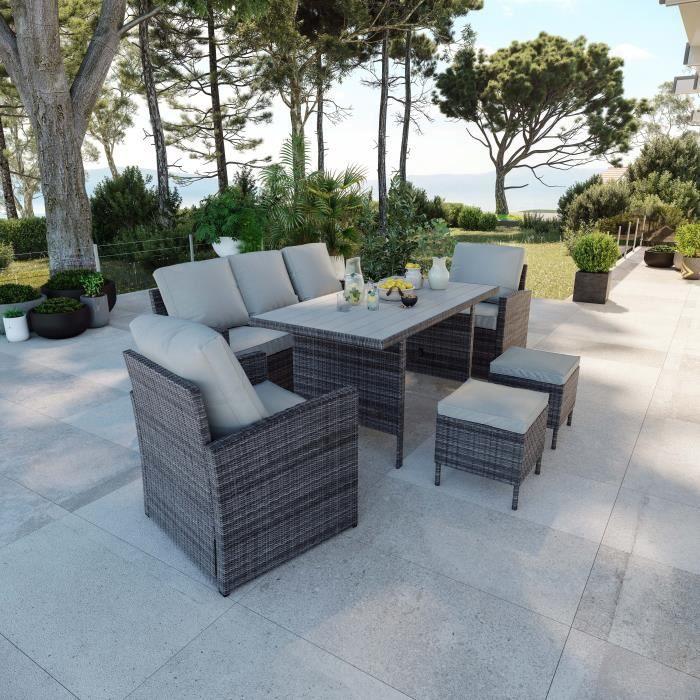 Salon de jardin design 7 places résine tressée table haute - Gris - CALVI