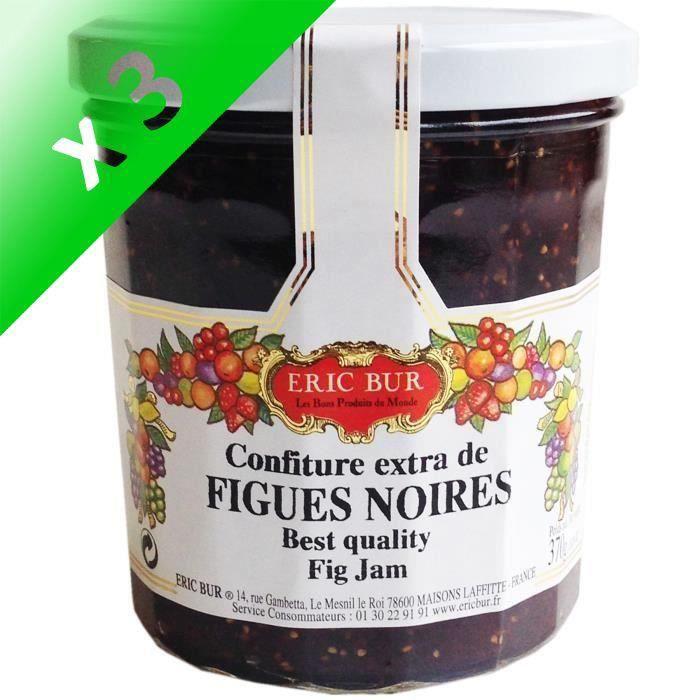 [LOT DE 3] ERIC BUR Confiture Extra Figues Noires - 370 g