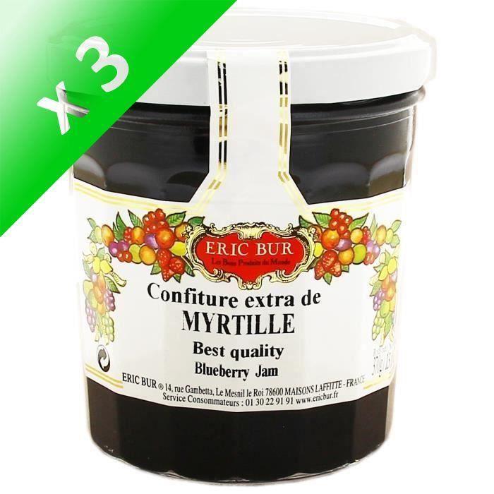 [LOT DE 3] ERIC BUR Confiture Extra Myrtilles - 370 g