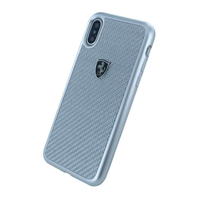 Ferrari - Heritage - Carbon Hard Cover - Apple iPhone X - Silver