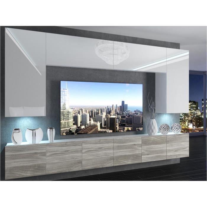 SILLEA - Ensemble meubles TV - Unité murale - Largeur 300 cm - Mur TV à suspendre finition gloss - Blanc-Aspect bois