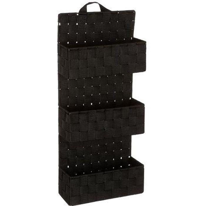 Etagère panier 3 niveaux à suspendre - H. 56,5 cm - Noir