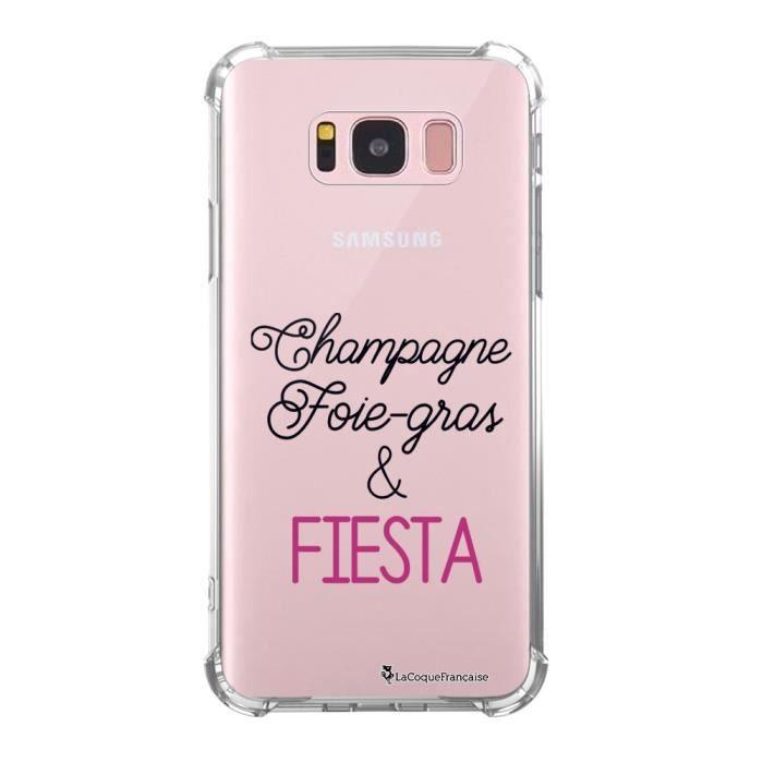 Coque Samsung Galaxy S8 anti-choc souple avec angles renforcés transparente Champagne Foie gras et Fiesta Tendance La Coque Francais