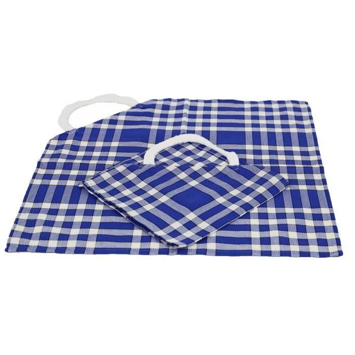 LINANDELLE - Lot de 2 bavoirs enfant coton carreaux vichy Normand CLEAN KID - Bleu