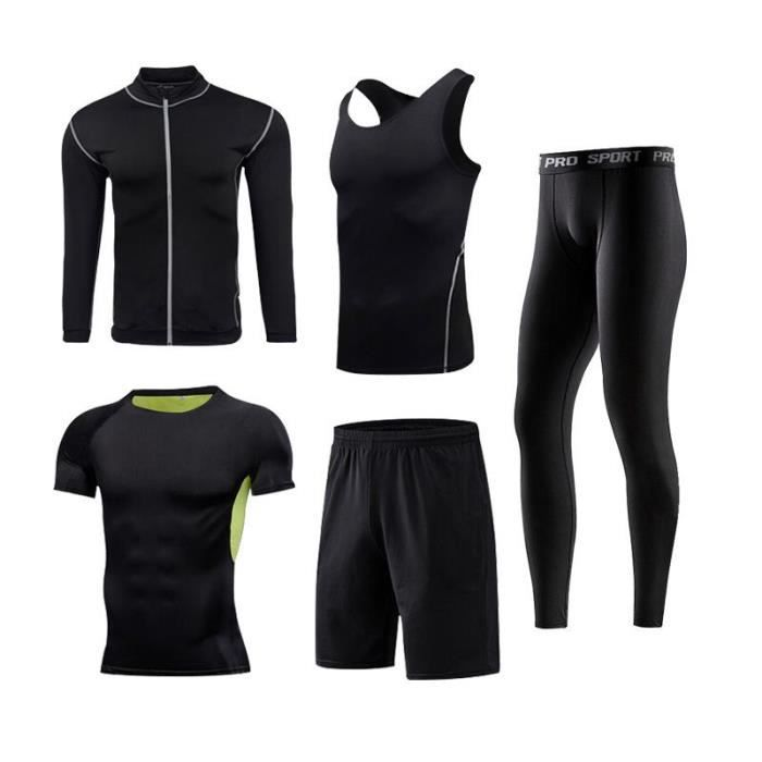 Ensemble Vetement de Sport Homme 5 Pieces Pour Fitness Running Séchage Rapide
