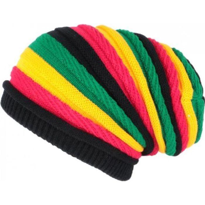 Bonnet Rasta Rouge Jaune Vert Jamaicain Laine fashion Jack - Taille unique - Jaune