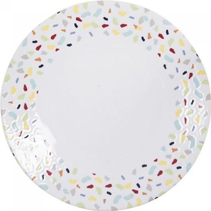 Assiette plate terrazzo 27 cm (lot de 6) - Table Passion Multicolore