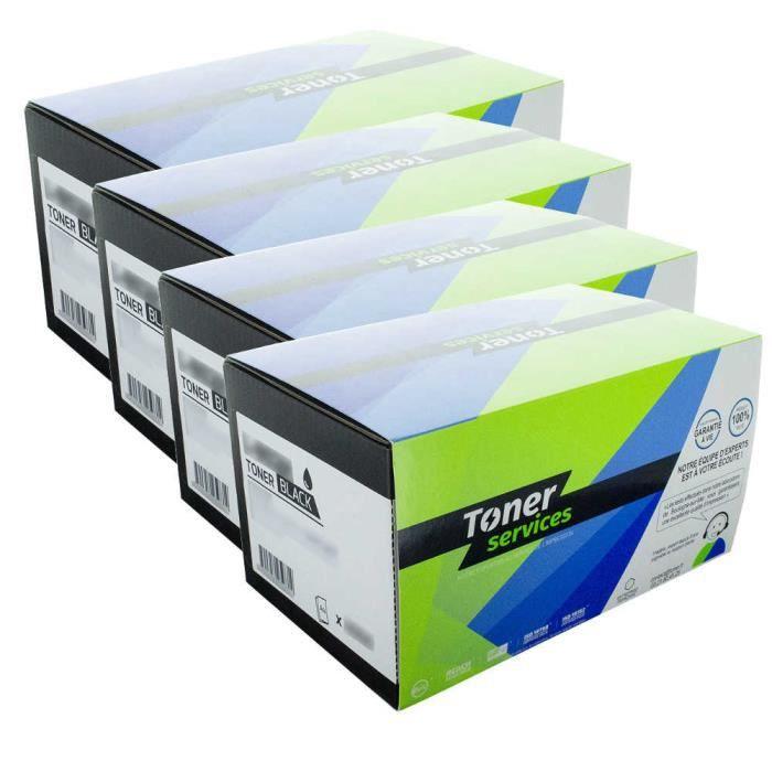 Pack de 4 Toners Laser Noir et Couleur marque Toner Services équivalent à HP 651A - HP CE340A - CE341A - CE343A - CE342A