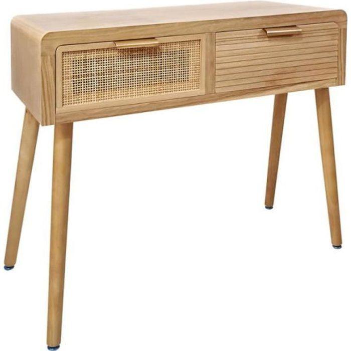Console 2 tiroirs Bois/Rotin - DAKUNA - L 80 x l 40 x H 78