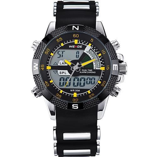 WEIDE Montres Hommes Marque De Luxe Célèbre Militaire LCD Lumineux Date Semaine Affichage Relogio Masculino Silicone Yellow Hand