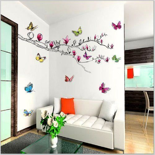 walpus stickers muraux pour chambre d 39 enfant magnolia papillons brillants en 3d achat vente. Black Bedroom Furniture Sets. Home Design Ideas