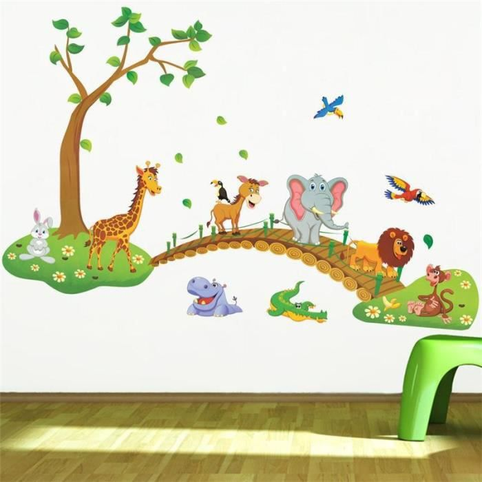 le plus r cent mignon animaux de dessin anim pont arbre stickers muraux b b d cor de la. Black Bedroom Furniture Sets. Home Design Ideas