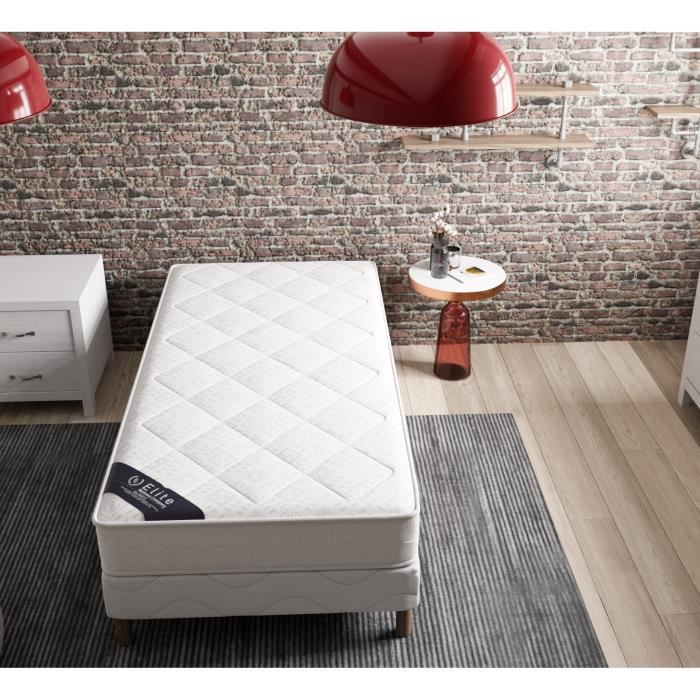 lit 1 place avec sommier et matelas achat vente pas cher. Black Bedroom Furniture Sets. Home Design Ideas