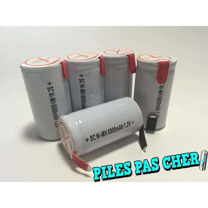 5 piles accus sub c nimh rechargeable 1 2v 6000mah. Black Bedroom Furniture Sets. Home Design Ideas