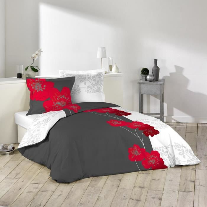 housse de couette 220x240cm 100 coton fleur rouge superpos e gris 2 taies achat vente. Black Bedroom Furniture Sets. Home Design Ideas