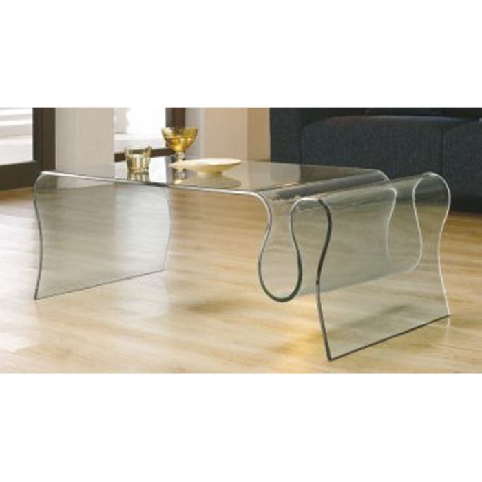 Table basse porte revues verre 39 cl o 39 achat vente table basse tab - Table basse en verre habitat ...