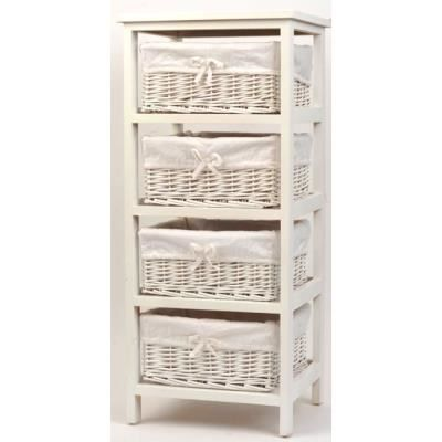 meuble bois paulownia 4 paniers en osier blanc achat. Black Bedroom Furniture Sets. Home Design Ideas