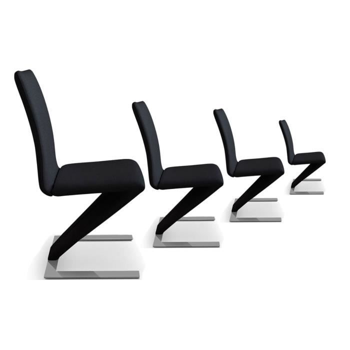 lot de 4 chaises design pu noir hori achat vente. Black Bedroom Furniture Sets. Home Design Ideas