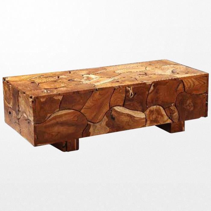 Table basse en bois brut exotique d\'Indonési
