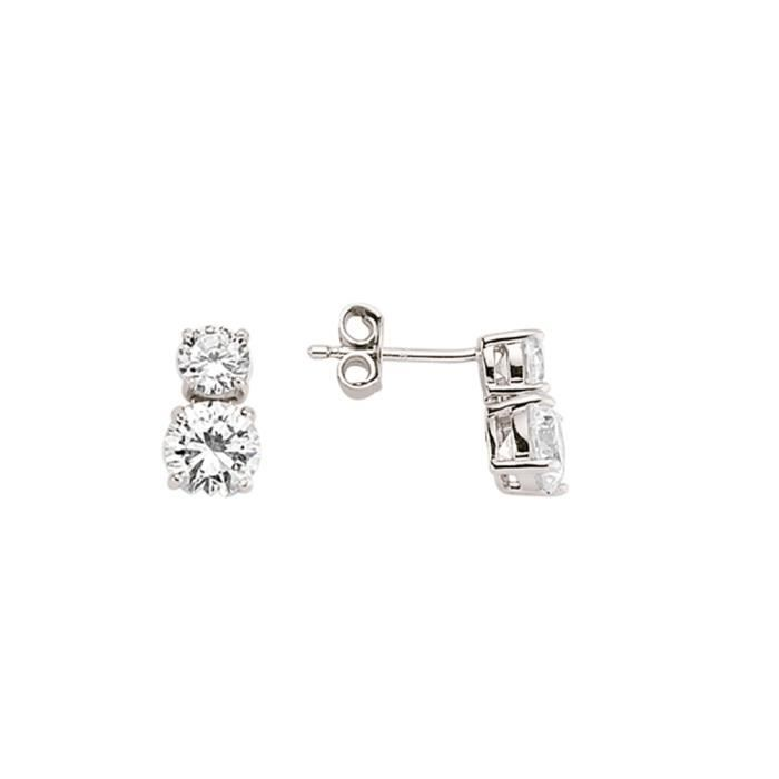 Jewelco London Plaqué Rhodium Argent Sterling Blanc Ronde brillant Zircone cubique Duo drop Goujon Boucle Oreilles