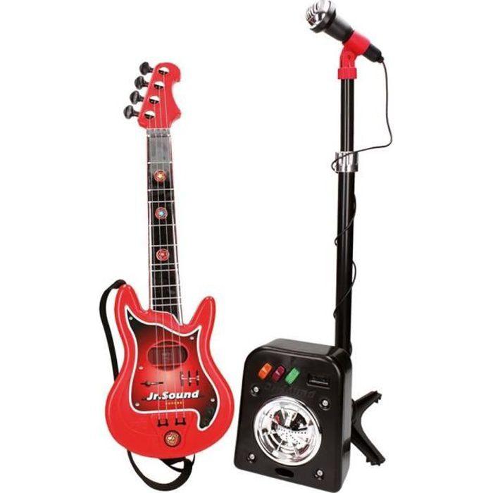 Guitare Rock Micro Karaoke Enfant Alfun Guitare /Électrique avec Micro Micro Enfant sur Pied