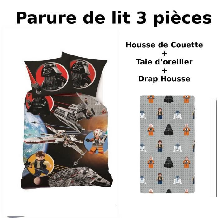 parure 3 pi ces lego star wars housse de couette 140 x 200 drap housse taie achat vente. Black Bedroom Furniture Sets. Home Design Ideas