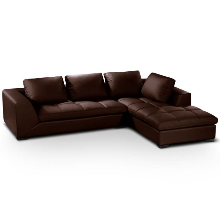 canap d 39 angle family marron achat vente canap sofa divan cdiscount. Black Bedroom Furniture Sets. Home Design Ideas
