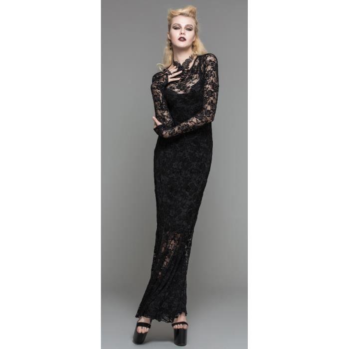 Sur Robe Noire Longue En Dentelle Transparente Dos Nu Gothique Aristocrate Elegant Sexy Noir Achat Vente Robe Cdiscount