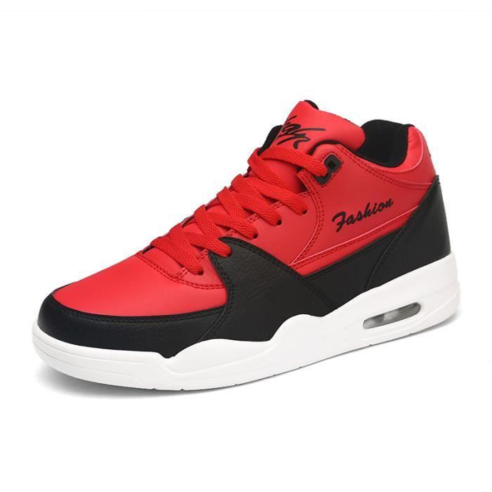 Et Air Baskets Sport Cuir Mode Noir Rouge De Chaussures Homme 0kOnwP