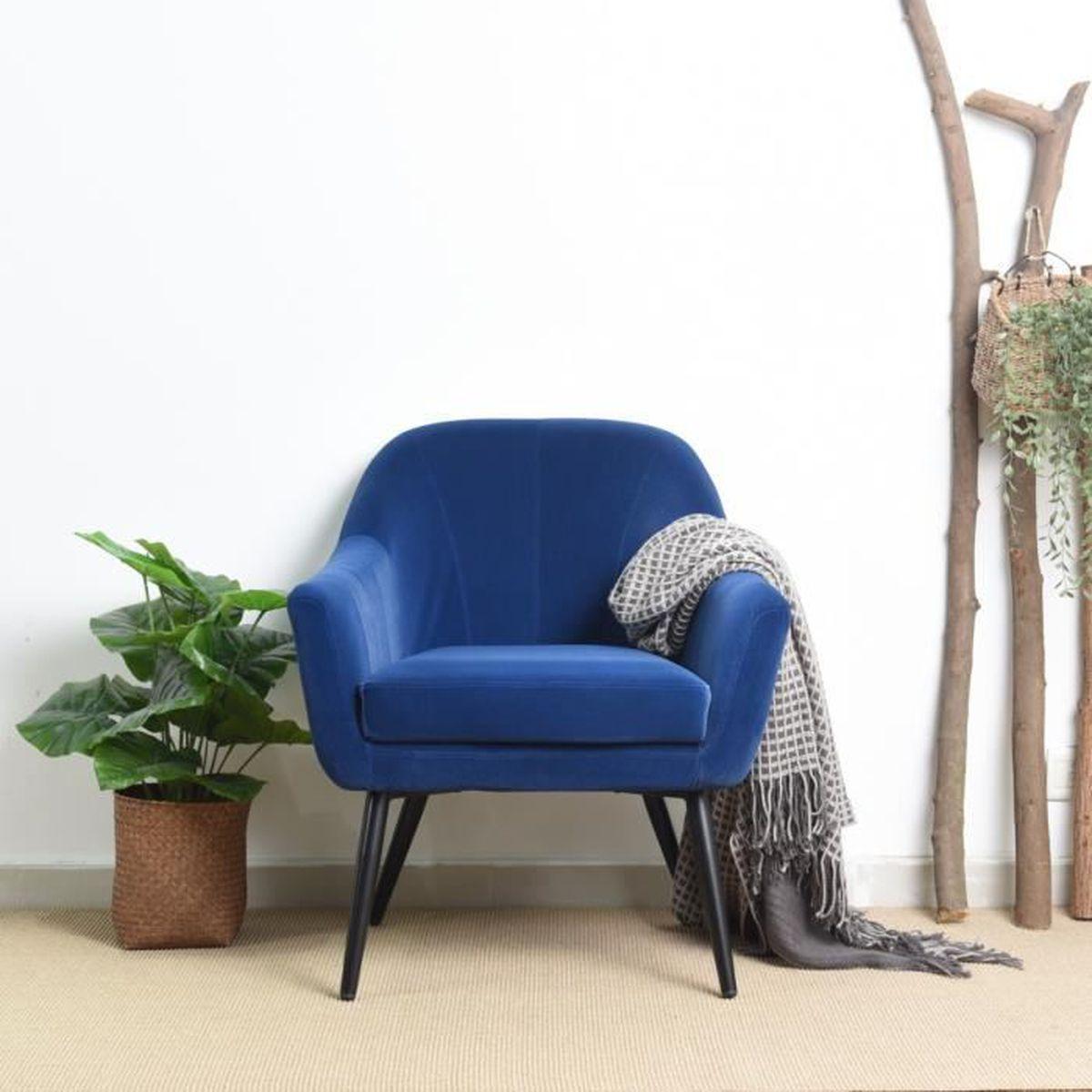 FAUTEUIL Canapé Chaise Fauteuil Chaise de loisirs Bleu Velo