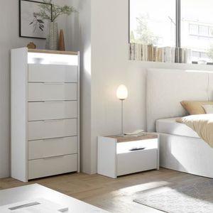 COMMODE DE CHAMBRE Chiffonnier LED blanc et couleur noyer moderne NER