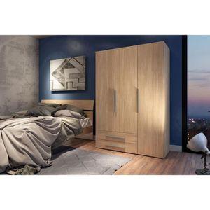 ARMOIRE DE CHAMBRE Armoire 3 portes 2 tiroirs ENJOY décors chêne natu