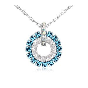 SAUTOIR ET COLLIER Pendentif Cercle orné de cristaux de Swarovski Ble
