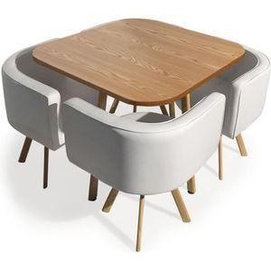 TABLE À MANGER COMPLÈTE Table et chaises scandinaves Oslo Blanc et Chêne