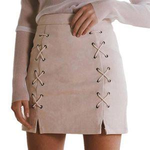 JUPE Minetom Jupe Femme en Daim Taille Haute Jupe A-Lig